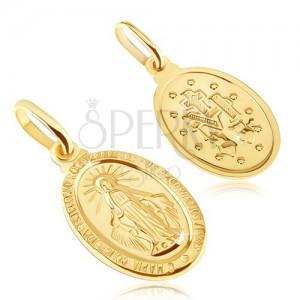 Prívesok zo zlata 14K - oválny medailón Panny Márie