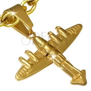 Oceľový prívesok - 3D lietadlo zlatej farby  889ed313d3d