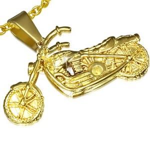 Prívesok z ocele zlatej farby, 3D motorka
