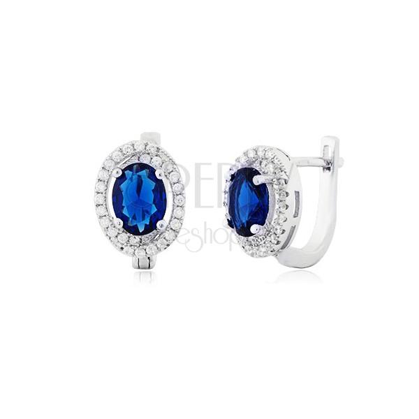 70d366095 ... Strieborné náušnice 925 - modrý oválny zirkón, malé číre kamienky
