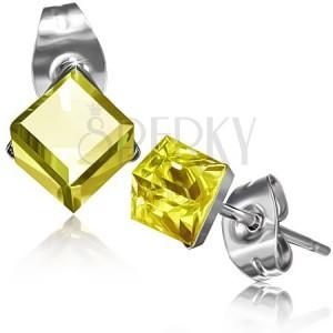 Náušnice z ocele, zirkón žltej farby, kocka