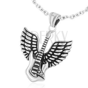 Prívesok z chirurgickej ocele, elektrická gitara s krídlami