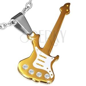 Oceľový prívesok zlatej farby, elektrická gitara zdobená zirkónmi