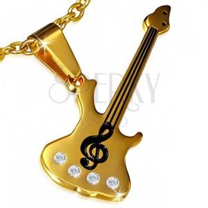 Oceľový prívesok - gitara, husľový kľúč, číre kamienky