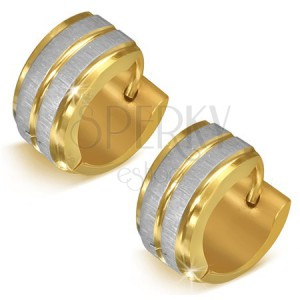 Oceľové náušnice zlatej farby s pásmi striebornej farby - okrúhle