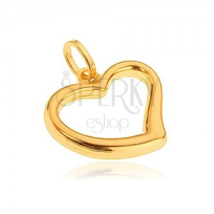 Prívesok zo zlata 14K - nepravidelný obrys veľkého srdca