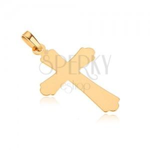 Zlatý prívesok 585 - lesklý plochý kríž, trojcípe ramená