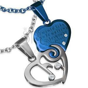Dvojdielny prívesok z ocele - srdce striebornej a modrej farby