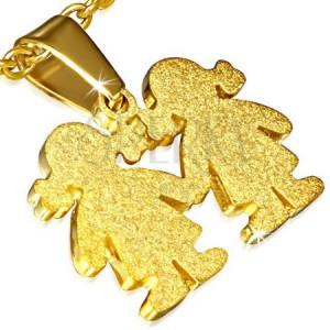 Prívesok zlatej farby - oceľový, pieskovaný, dve dievčatká