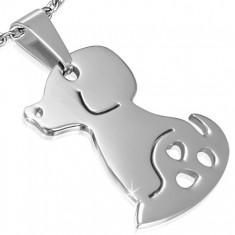 Prívesok z chirurgickej ocele - plochá známka, sediaci psík