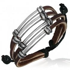 Šperky eshop - Multináramok z kože, tmavohnedé pásiky, kovové rúrky, korálky X40.14