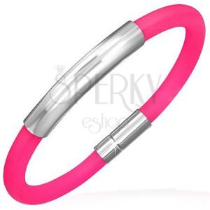 Okrúhly gumený náramok - neónovo-ružový, kovová známka