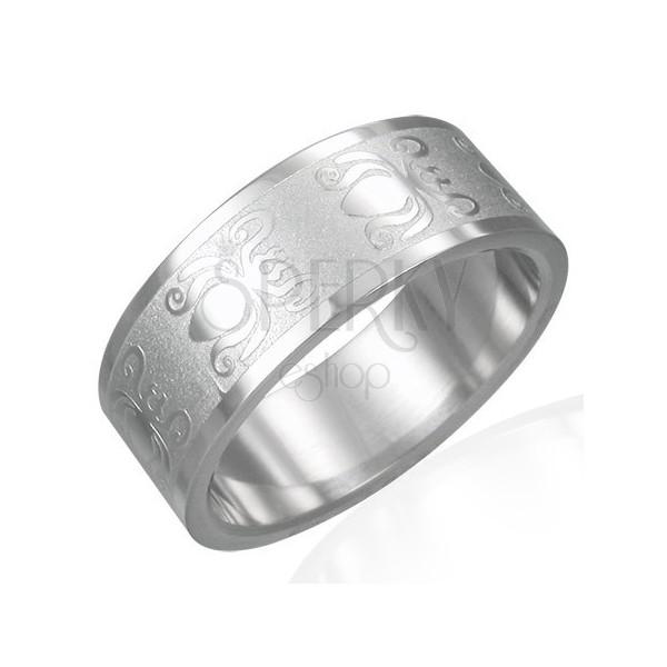 Prsteň z ocele 316L s lesklo-matným povrchom - motív chrobákov, 8 mm