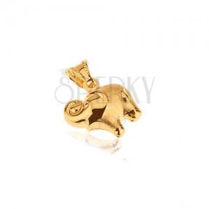 Zlatý prívesok 585 - plastický sloník, zakrútený chobot dohora