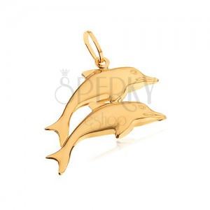 Zlatý prívesok 585 - dva zrkadlovolesklé vyskakujúce delfíny