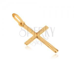 Prívesok zo zlata 14K - plochý latinský kríž, lúčovité ryhovanie zo stredu