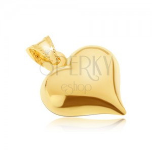 Zlatý prívesok 585 - plastické pravidelné srdce, lesklý vypuklý povrch