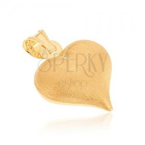 Zlatý 14K prívesok - súmerné srdiečko so saténovým povrchom