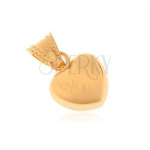 Prívesok zo zlata 14K - symetrické srdce, zrkadlovolesklý povrch