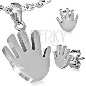 Set z chirurgickej ocele - prívesok a náušnice, ruka