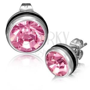 Oceľové náušnice - okrúhle, ružový zirkón