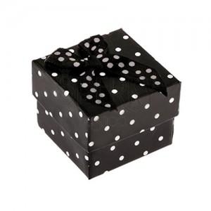 Čierna bodkovaná krabička na prsteň, mašlička