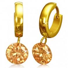 Šperky eshop - Okrúhle náušnice z chirurgickej ocele - zlatá farba, oranžový kamienok X39.14