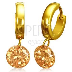 Okrúhle náušnice z chirurgickej ocele - zlatá farba ef12d23f9dd