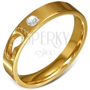 Oceľový prsteň zlatej farby - číry zirkón, detská nôžka