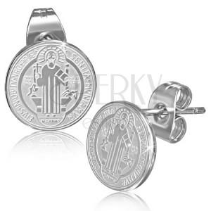 Oceľové náušnice - puzetky, kolieska so sv. Benediktom