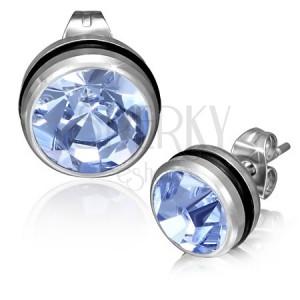 Puzetové náušnice z chirurgickej ocele - svetlo-modrý okrúhly zirkón
