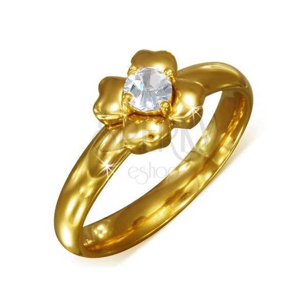 Prsteň zlatej farby z chirurgickej ocele s čírym zirkónom - kvet