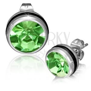 Oceľové náušnice s okrúhlym zeleným zirkónom