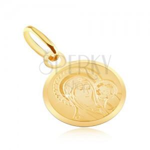 Zlatý plochý prívesok 585 - okrúhly medailón s Madonou a dieťaťom
