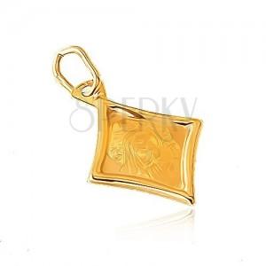 Zlatý prívesok 585 - kosoštvorcový plochý medailón, Panna Mária, dieťa