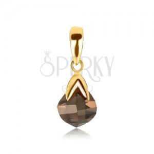 Prívesok zo zlata 14K - kameň - záhneda, slza, zlatá stopka