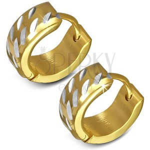 Náušnice z chirurgickej ocele - okrúhle, zlaté so zárezmi striebornej farby
