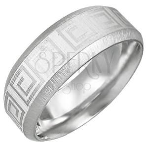 Oceľový prsteň so vzorom gréckeho kľúča, skosené hrany