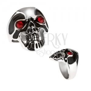 Masívny oceľový prsteň - lebka, čierna glazúra, červené oči