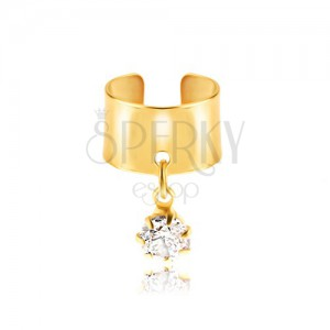 Falošný piercing do ucha z kovu - krúžok zlatej farby, číry zirkón