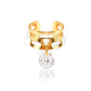 Kovový krúžok do chrupavky - pásy zlatej farby, číry zirkón