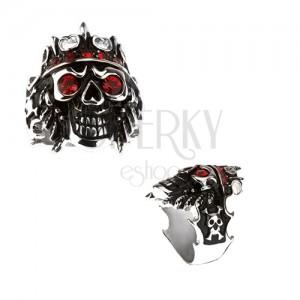 Prsteň z ocele 316L - lebka s korunou, červené zirkóny