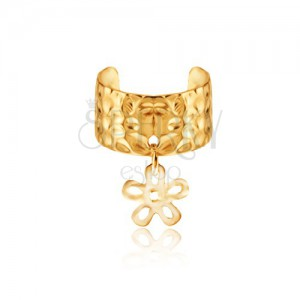 Kovový krúžok do ucha - zlatý odtieň, obrys kvetu