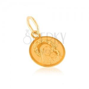 Zlatý 14K prívesok - okrúhly medailón, gravírovaná Matka Božia s dieťaťom