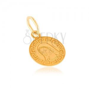 Zlatý prívesok 585 - plochý medailón, okrúhly, Panna Mária, grécky vzor