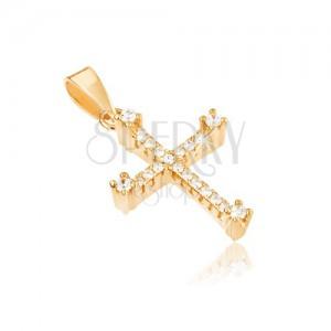 Prívesok zo žltého zlata 14K - latinský kríž, vystúpené zirkóny na okrajoch