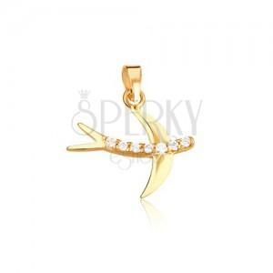 Zlatý prívesok 585 - lastovička, okrúhle číre zirkóny, hladké lesklé krídla