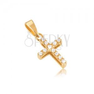 Prívesok zo zlata 14K, latinský kríž, zirkóny, výrezy