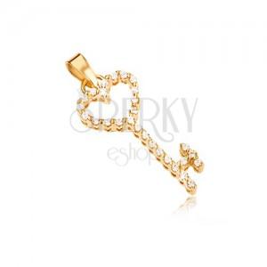 Zlatý prívesok 585 - srdcový kľúč vykladaný čírymi zirkónmi