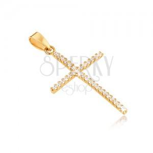 Prívesok zo zlata 14K, tenký latinský kríž, okrúhle číre kamienky